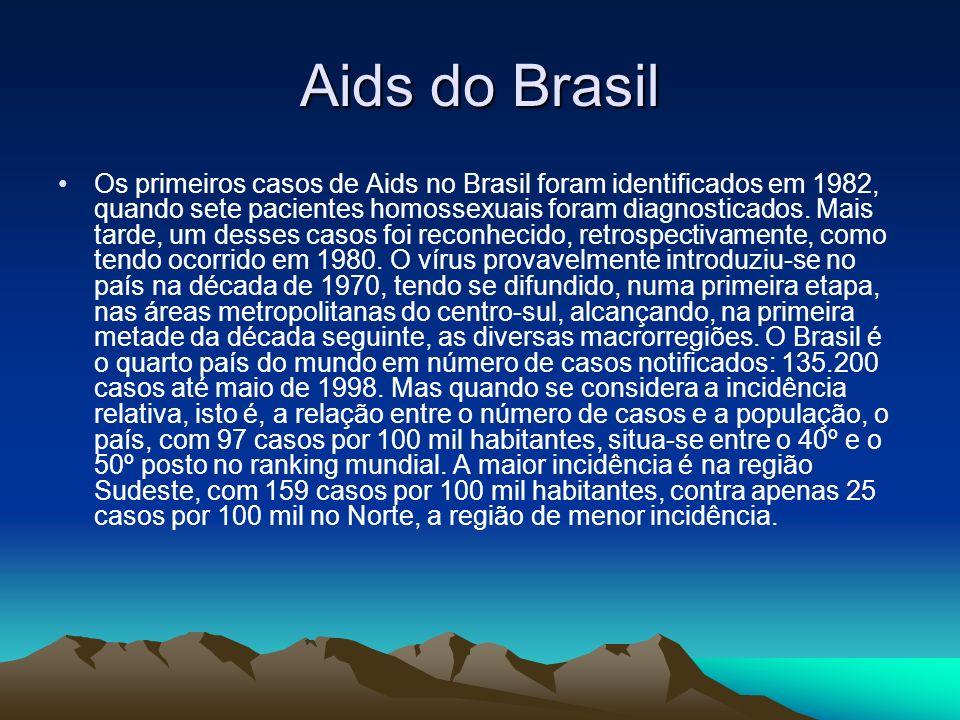 Aids do Brasil Os primeiros casos de Aids no Brasil foram identificados em 1982, quando sete pacientes homossexuais foram diagnosticados.