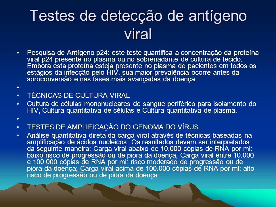 Testes de detecção de antígeno viral Pesquisa de Antígeno p24: este teste quantifica a concentração da proteína viral p24 presente no plasma ou no sobrenadante de cultura de tecido.