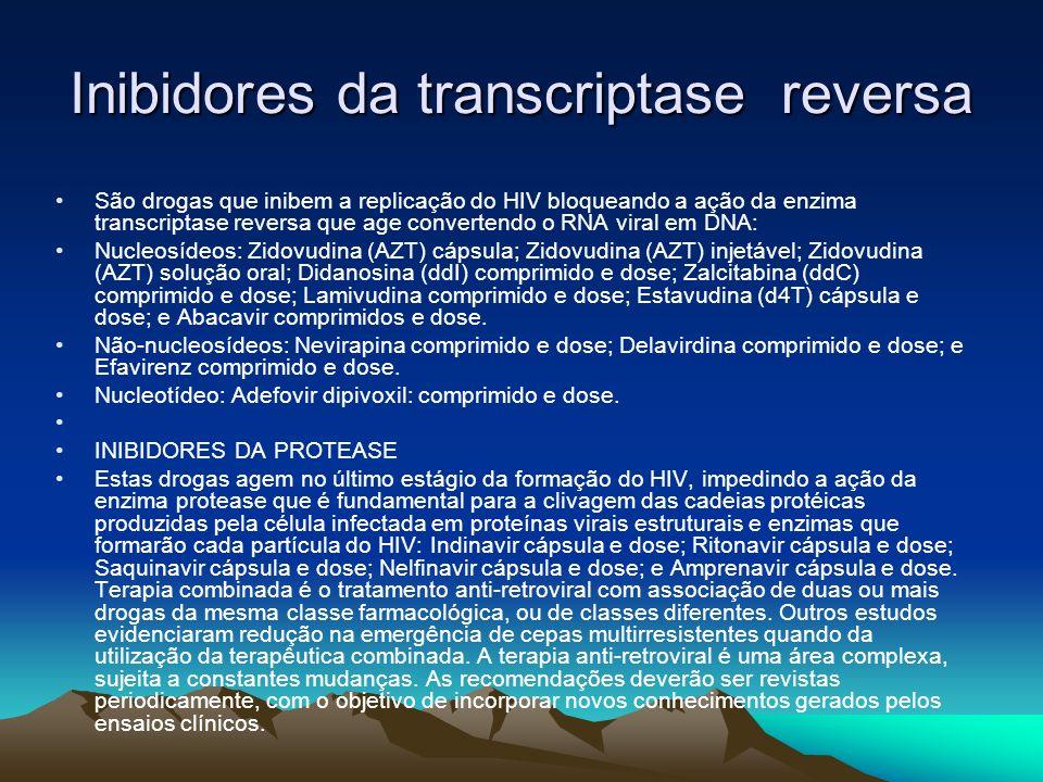 Inibidores da transcriptase reversa São drogas que inibem a replicação do HIV bloqueando a ação da enzima transcriptase reversa que age convertendo o RNA viral em DNA: Nucleosídeos: Zidovudina (AZT) cápsula; Zidovudina (AZT) injetável; Zidovudina (AZT) solução oral; Didanosina (ddI) comprimido e dose; Zalcitabina (ddC) comprimido e dose; Lamivudina comprimido e dose; Estavudina (d4T) cápsula e dose; e Abacavir comprimidos e dose.