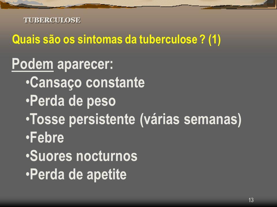 13 TUBERCULOSE Quais são os sintomas da tuberculose ? (1) Podem aparecer: Cansaço constante Perda de peso Tosse persistente (várias semanas) Febre Suo