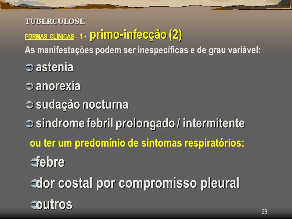 29 TUBERCULOSE primo-infecção (2) FORMAS CLÍNICAS - 1 - primo-infecção (2) As manifestações podem ser inespecíficas e de grau variável: astenia asteni
