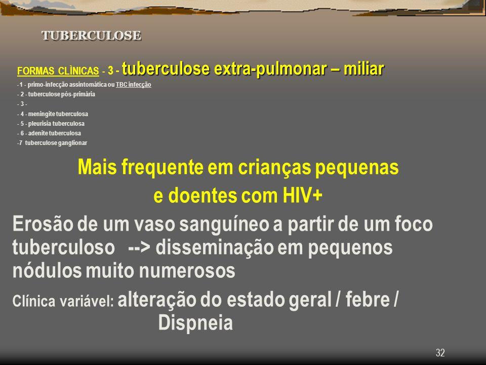 32 TUBERCULOSE tuberculose extra-pulmonar – miliar FORMAS CLÌNICAS - 3 - tuberculose extra-pulmonar – miliar - 1 - primo-infecção assintomática ou TBC