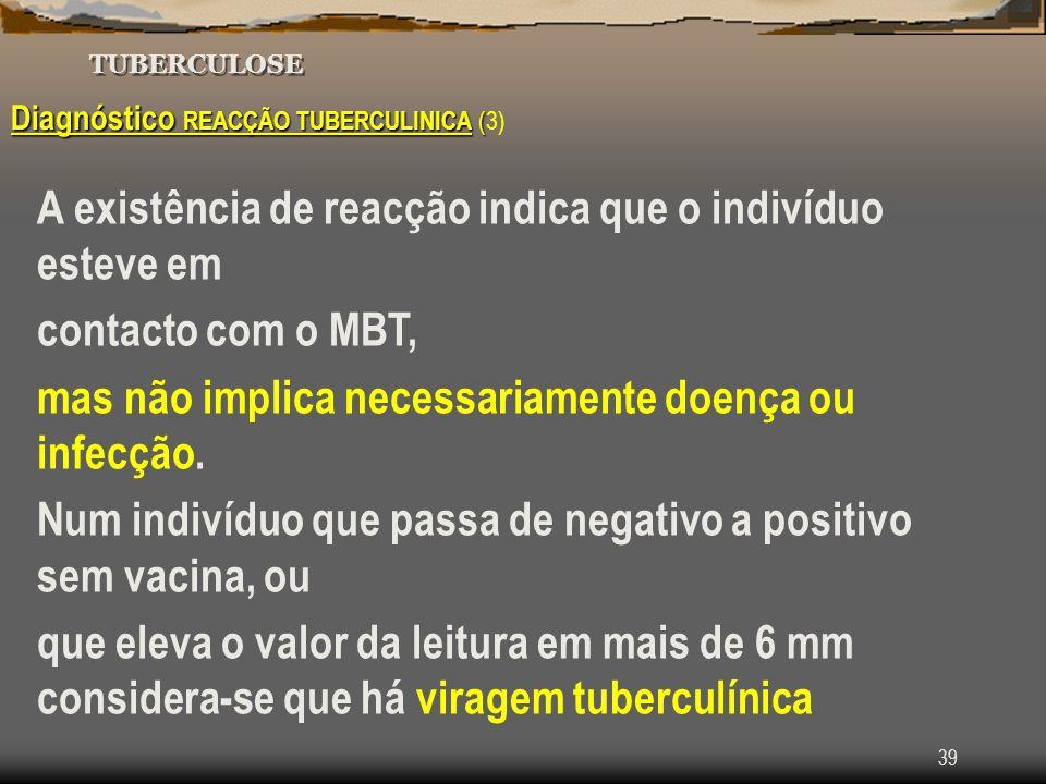 39 TUBERCULOSE Diagnóstico REACÇÃO TUBERCULINICA ( Diagnóstico REACÇÃO TUBERCULINICA (3) A existência de reacção indica que o indivíduo esteve em cont