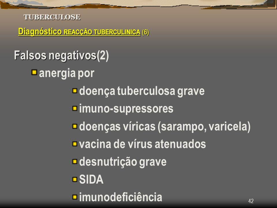 42 TUBERCULOSE Diagnóstico REACÇÃO TUBERCULINICA (6) Falsos negativos Falsos negativos(2) anergia por doença tuberculosa grave imuno-supressores doenç