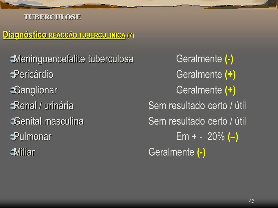 43 TUBERCULOSE Diagnóstico REACÇÃO TUBERCULINICA (7 Diagnóstico REACÇÃO TUBERCULINICA (7) Meningoencefalite tuberculosa Meningoencefalite tuberculosaG