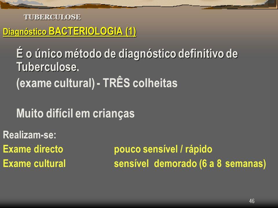 46 TUBERCULOSE Diagnóstico BACTERIOLOGIA (1) É o único método de diagnóstico definitivo de Tuberculose É o único método de diagnóstico definitivo de T