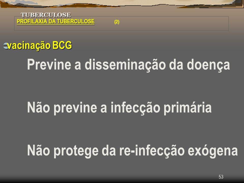 53 TUBERCULOSE PROFILAXIA DA TUBERCULOSE PROFILAXIA DA TUBERCULOSE (2) vacinação BCG vacinação BCG Previne a disseminação da doença Não previne a infe