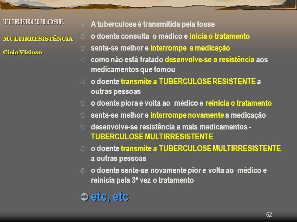 62 TUBERCULOSE MULTIRRESISTÊNCIA Ciclo Vicioso ¶ A tuberculose é transmitida pela tosse · o doente consulta o médico e inicia o tratamento ¸ sente-se