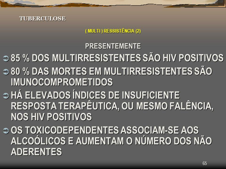 65 TUBERCULOSE ( MULTI ) RESSISTÊNCIA (2) PRESENTEMENTE 85 % DOS MULTIRRESISTENTES SÃO HIV POSITIVOS 85 % DOS MULTIRRESISTENTES SÃO HIV POSITIVOS 80 %
