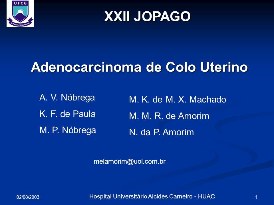 02/08/2003 1 Hospital Universitário Alcides Carneiro - HUAC XXII JOPAGO Adenocarcinoma de Colo Uterino A. V. Nóbrega K. F. de Paula M. P. Nóbrega M. K