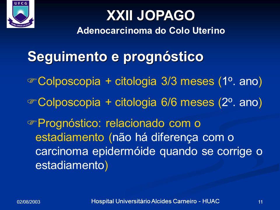 02/08/2003 11 Hospital Universitário Alcides Carneiro - HUAC Seguimento e prognóstico Colposcopia + citologia 3/3 meses (1 o. ano) Colposcopia + citol