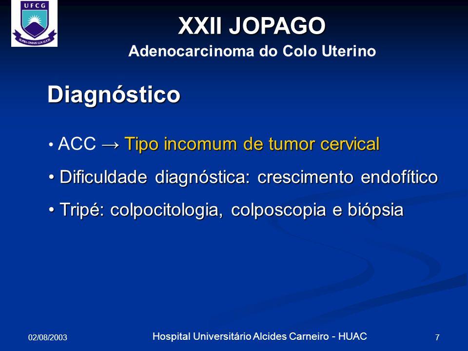 02/08/2003 7 Hospital Universitário Alcides Carneiro - HUAC XXII JOPAGO Adenocarcinoma do Colo Uterino Diagnóstico Tipo incomum de tumor cervical ACC