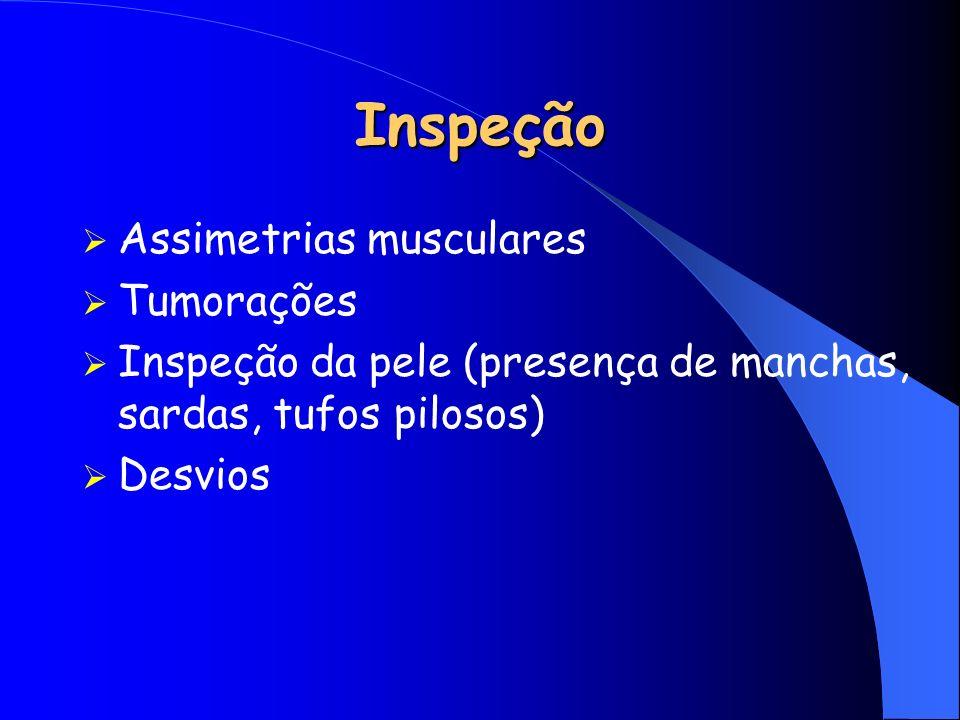 Inspeção Assimetrias musculares Tumorações Inspeção da pele (presença de manchas, sardas, tufos pilosos) Desvios