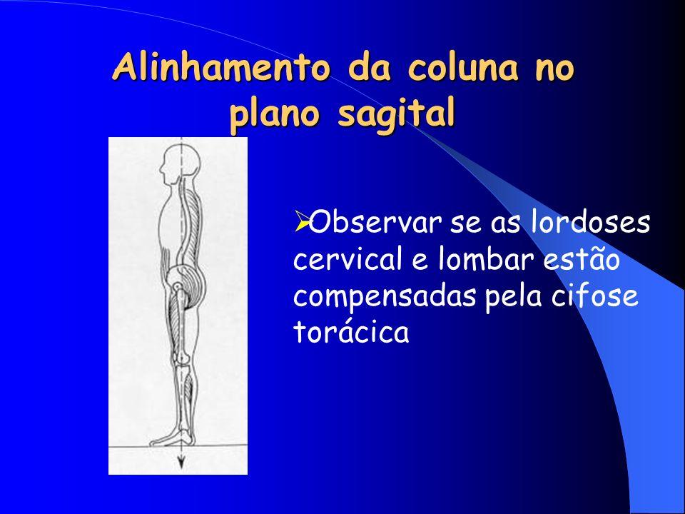 Alinhamento da coluna no plano sagital Observar se as lordoses cervical e lombar estão compensadas pela cifose torácica