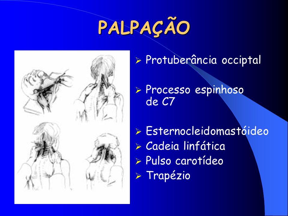 PALPAÇÃO Protuberância occiptal Processo espinhoso de C7 Esternocleidomastóideo Cadeia linfática Pulso carotídeo Trapézio