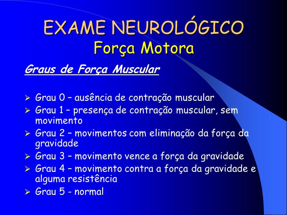 EXAME NEUROLÓGICO Força Motora Graus de Força Muscular Grau 0 – ausência de contração muscular Grau 1 – presença de contração muscular, sem movimento