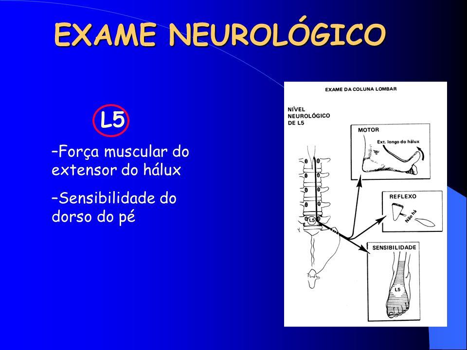 EXAME NEUROLÓGICO L5 –Força muscular do extensor do hálux –Sensibilidade do dorso do pé