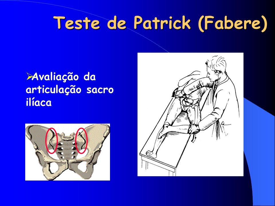 Teste de Patrick (Fabere) Avaliação da articulação sacro ilíaca