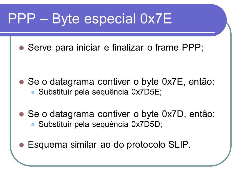 PPP – Byte especial 0x7E Serve para iniciar e finalizar o frame PPP; Se o datagrama contiver o byte 0x7E, então: Substituir pela sequência 0x7D5E; Se