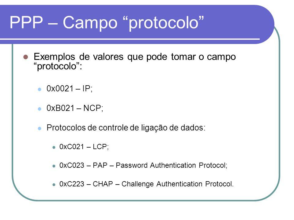 PPP – Campo protocolo Exemplos de valores que pode tomar o campo protocolo: 0x0021 – IP; 0xB021 – NCP; Protocolos de controle de ligação de dados: 0xC