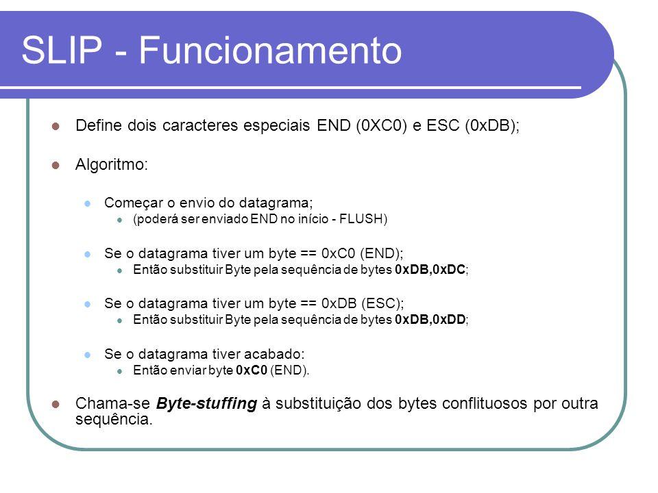 PPP – Campo protocolo Exemplos de valores que pode tomar o campo protocolo: 0x0021 – IP; 0xB021 – NCP; Protocolos de controle de ligação de dados: 0xC021 – LCP; 0xC023 – PAP – Password Authentication Protocol; 0xC223 – CHAP – Challenge Authentication Protocol.