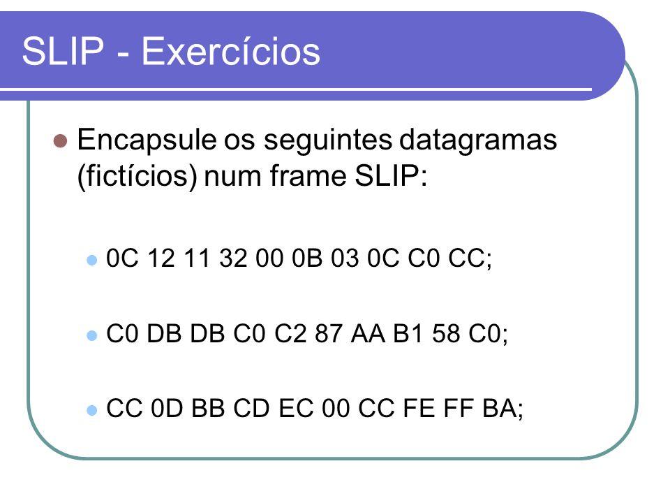 SLIP - Exercícios Encapsule os seguintes datagramas (fictícios) num frame SLIP: 0C 12 11 32 00 0B 03 0C C0 CC; C0 DB DB C0 C2 87 AA B1 58 C0; CC 0D BB