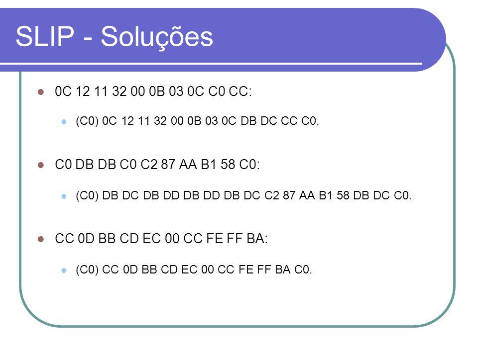 SLIP - Soluções 0C 12 11 32 00 0B 03 0C C0 CC: (C0) 0C 12 11 32 00 0B 03 0C DB DC CC C0. C0 DB DB C0 C2 87 AA B1 58 C0: (C0) DB DC DB DD DB DD DB DC C