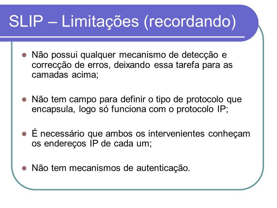 SLIP – Limitações (recordando) Não possui qualquer mecanismo de detecção e correcção de erros, deixando essa tarefa para as camadas acima; Não tem cam