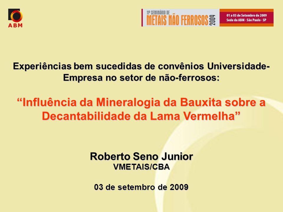 Experiências bem sucedidas de convênios Universidade- Empresa no setor de não-ferrosos: Influência da Mineralogia da Bauxita sobre a Decantabilidade d