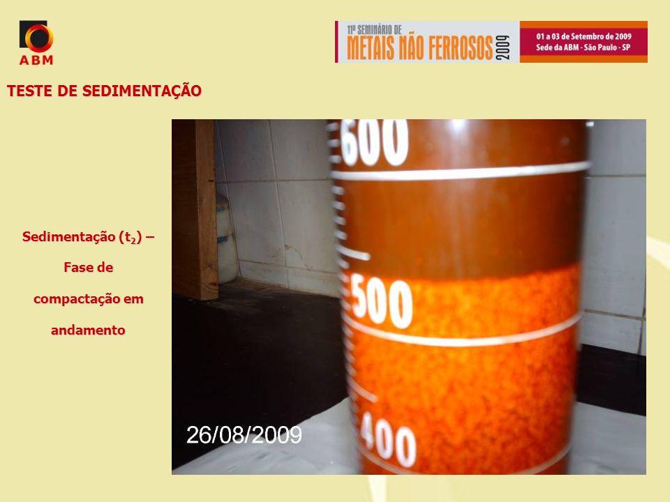 TESTE DE SEDIMENTAÇÃO Sedimentação (t 2 ) – Fase de compactação em andamento