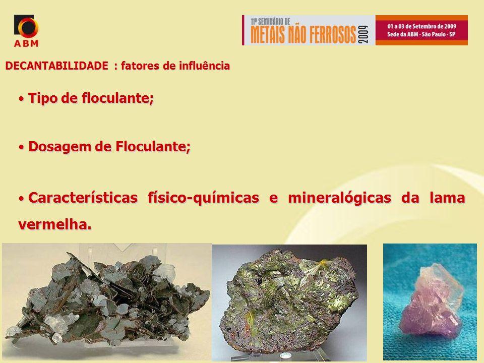DECANTABILIDADE : fatores de influência Tipo de floculante; Tipo de floculante; Dosagem de Floculante; Dosagem de Floculante; Características físico-q