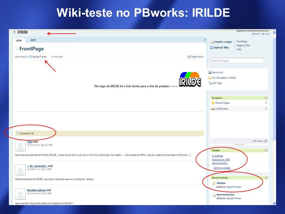 Wiki-teste no PBworks: IRILDE