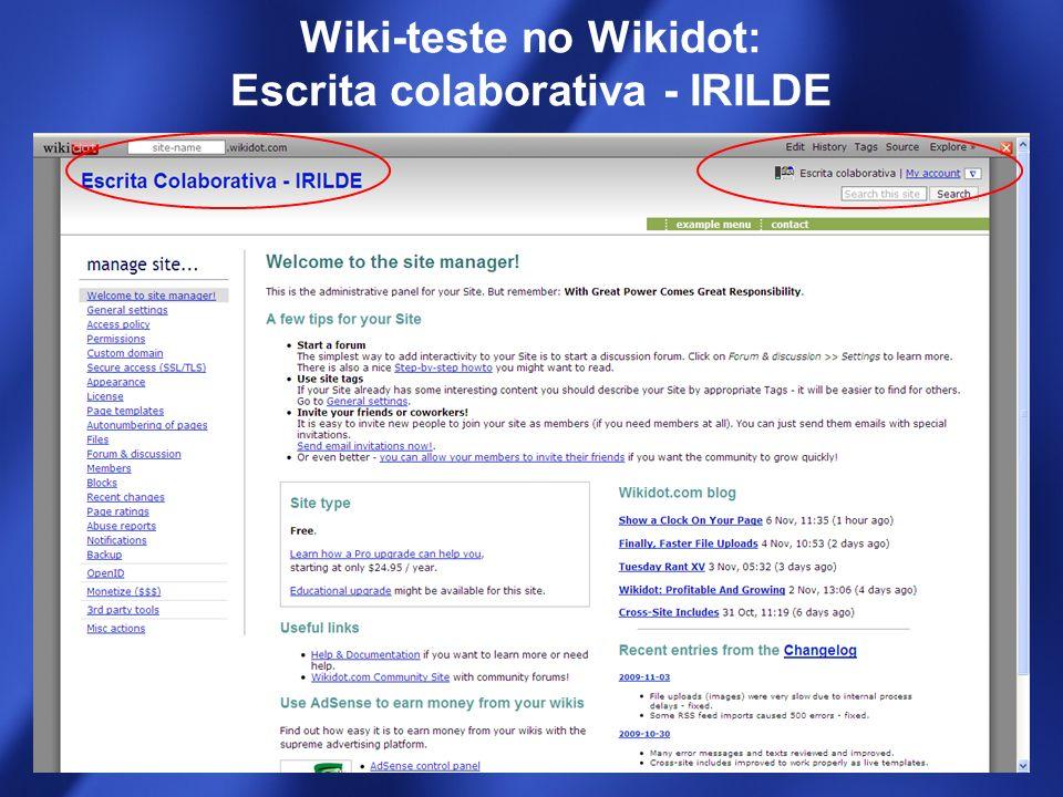 Wiki-teste no Wikidot: Escrita colaborativa - IRILDE