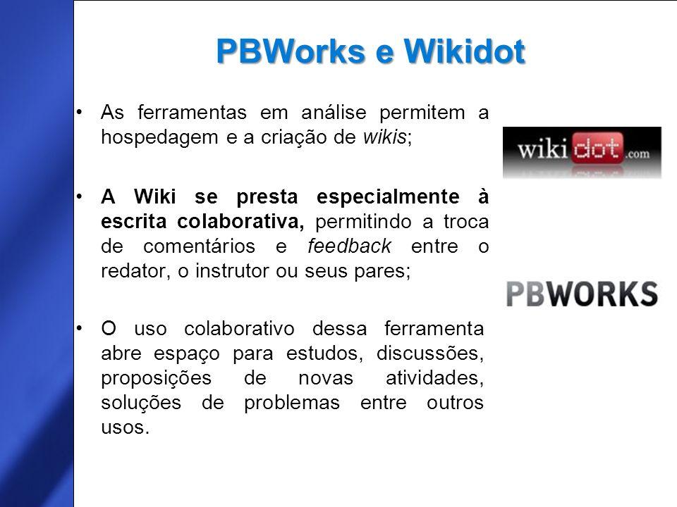 PBWorks (antes Pbwiki): homepage www.pbworks.com