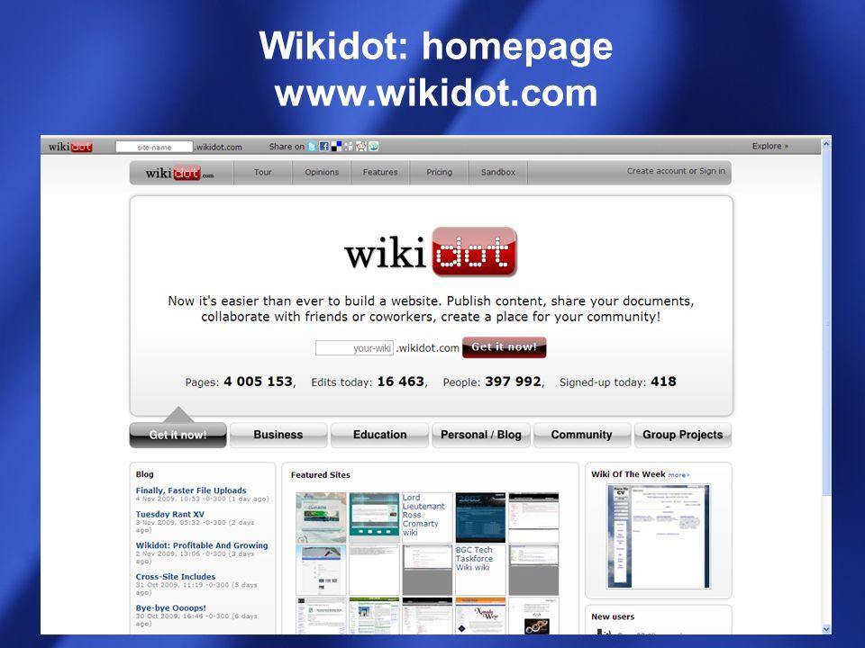 Wikidot: homepage www.wikidot.com