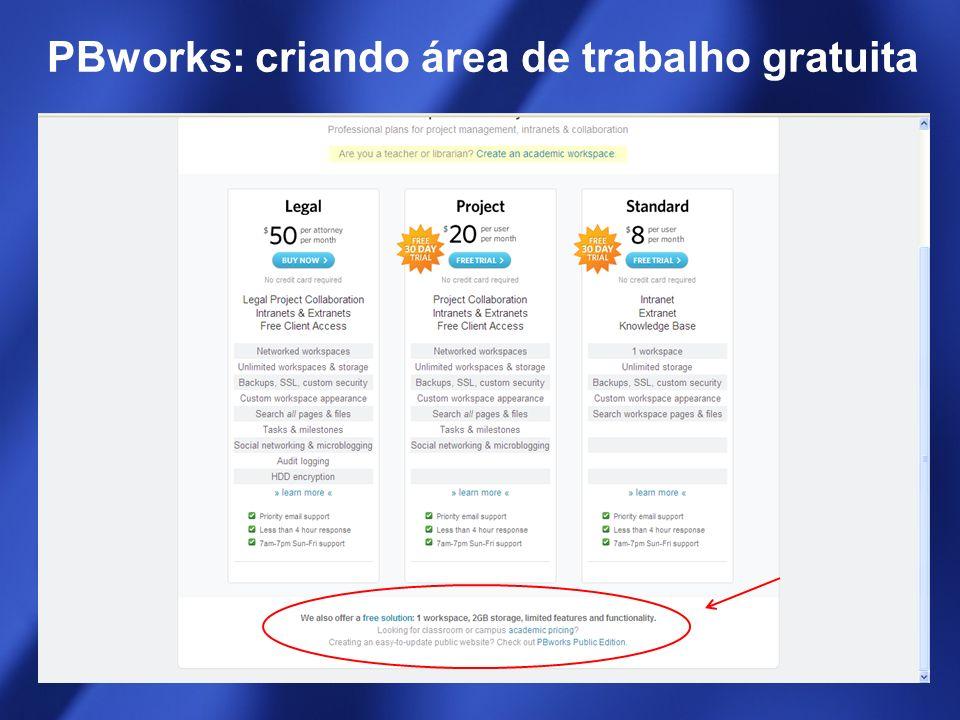 PBworks: criando área de trabalho gratuita