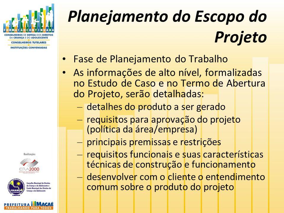 Planejamento do Escopo do Projeto Fase de Planejamento do Trabalho As informações de alto nível, formalizadas no Estudo de Caso e no Termo de Abertura