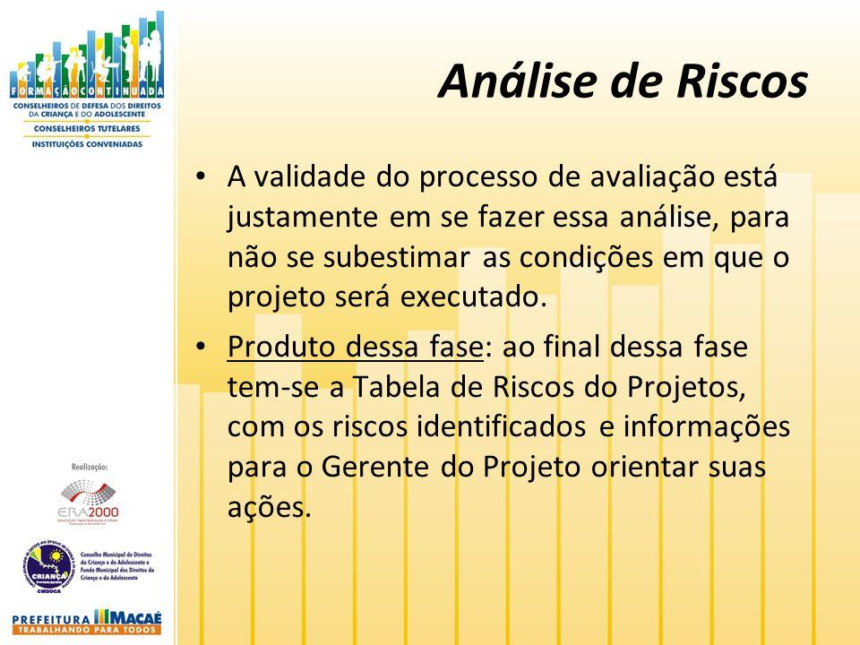 Análise de Riscos A validade do processo de avaliação está justamente em se fazer essa análise, para não se subestimar as condições em que o projeto será executado.
