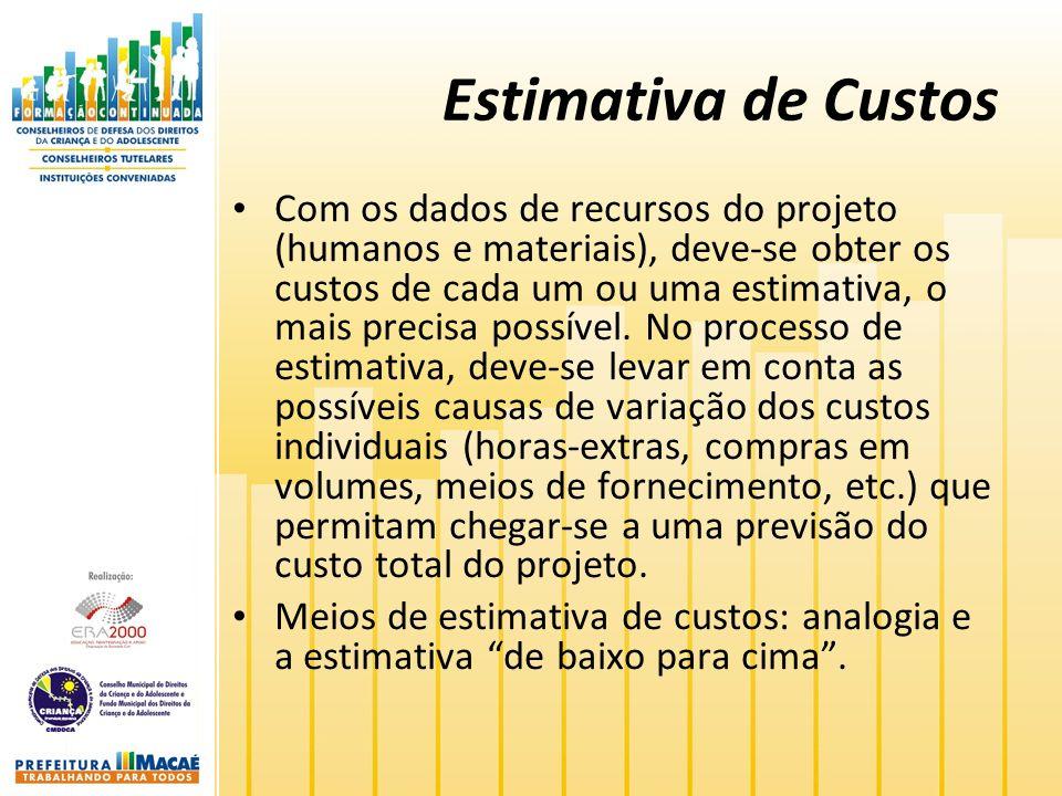 Estimativa de Custos Com os dados de recursos do projeto (humanos e materiais), deve-se obter os custos de cada um ou uma estimativa, o mais precisa possível.