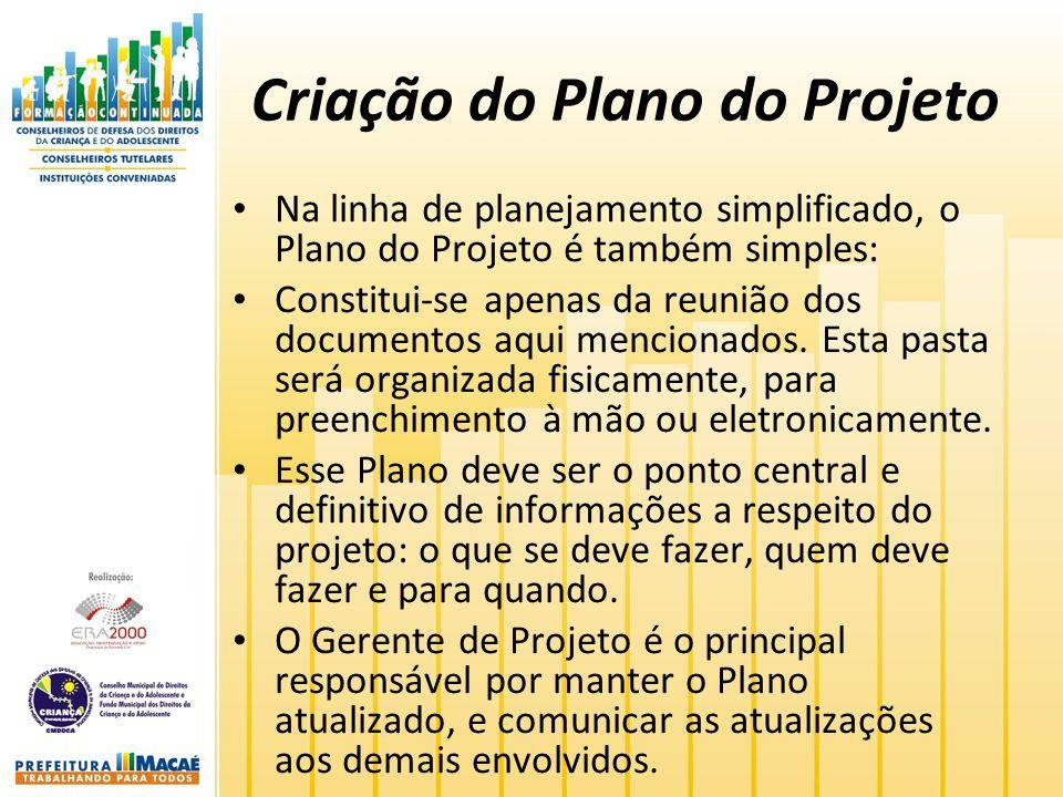 Criação do Plano do Projeto Na linha de planejamento simplificado, o Plano do Projeto é também simples: Constitui-se apenas da reunião dos documentos aqui mencionados.