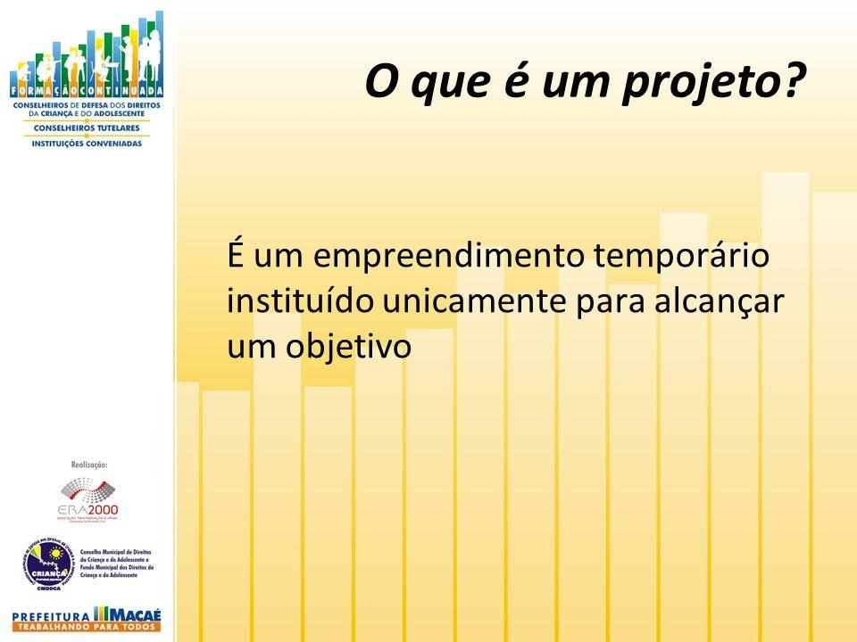O que é um projeto? É um empreendimento temporário instituído unicamente para alcançar um objetivo