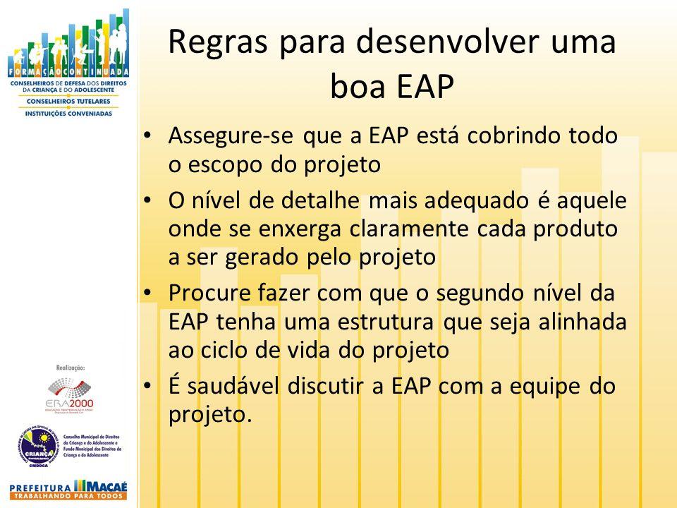 Regras para desenvolver uma boa EAP Assegure-se que a EAP está cobrindo todo o escopo do projeto O nível de detalhe mais adequado é aquele onde se enxerga claramente cada produto a ser gerado pelo projeto Procure fazer com que o segundo nível da EAP tenha uma estrutura que seja alinhada ao ciclo de vida do projeto É saudável discutir a EAP com a equipe do projeto.