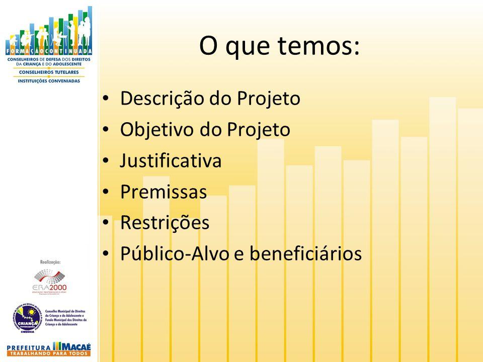 O que temos: Descrição do Projeto Objetivo do Projeto Justificativa Premissas Restrições Público-Alvo e beneficiários