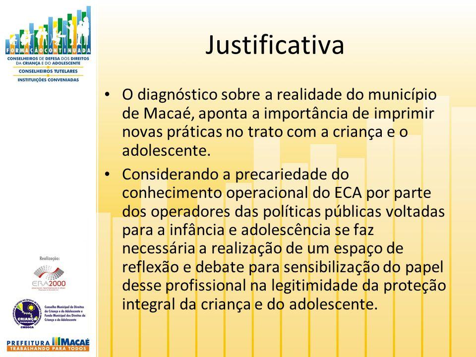 Justificativa O diagnóstico sobre a realidade do município de Macaé, aponta a importância de imprimir novas práticas no trato com a criança e o adoles