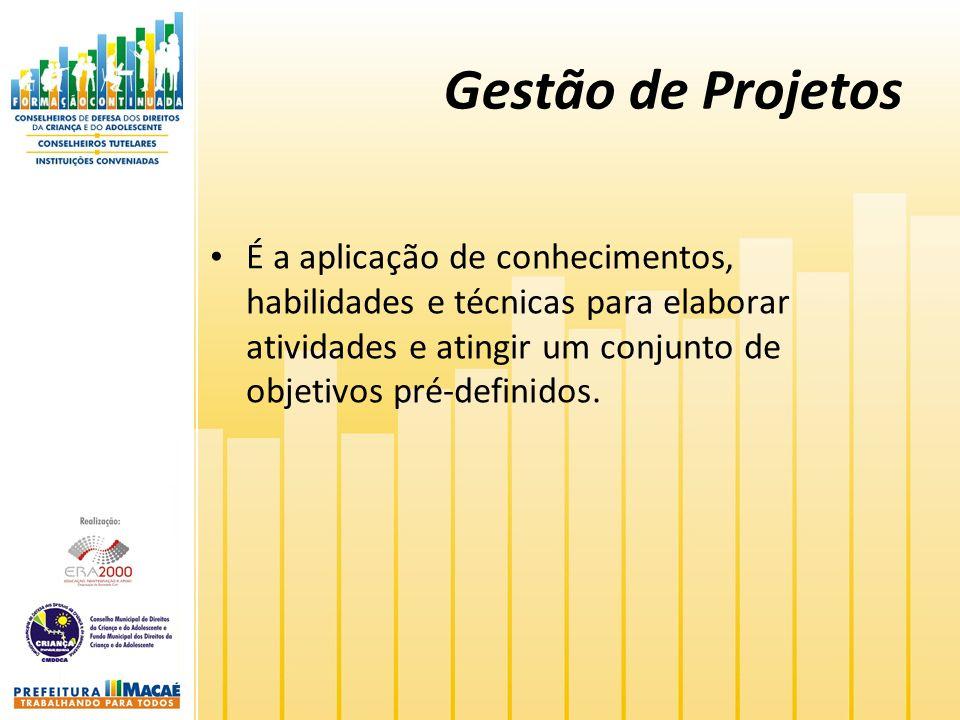 Gestão de Projetos É a aplicação de conhecimentos, habilidades e técnicas para elaborar atividades e atingir um conjunto de objetivos pré-definidos.
