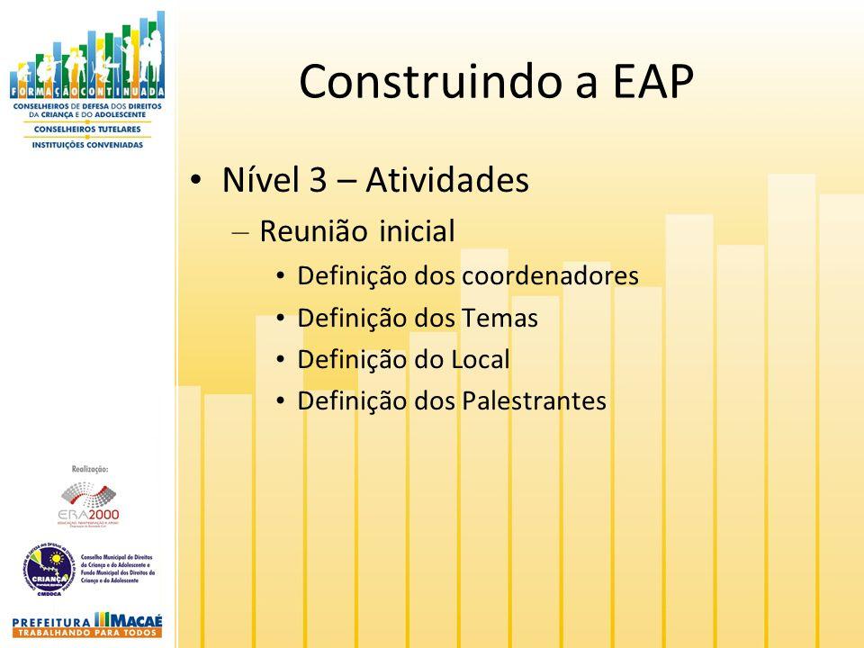 Construindo a EAP Nível 3 – Atividades – Reunião inicial Definição dos coordenadores Definição dos Temas Definição do Local Definição dos Palestrantes