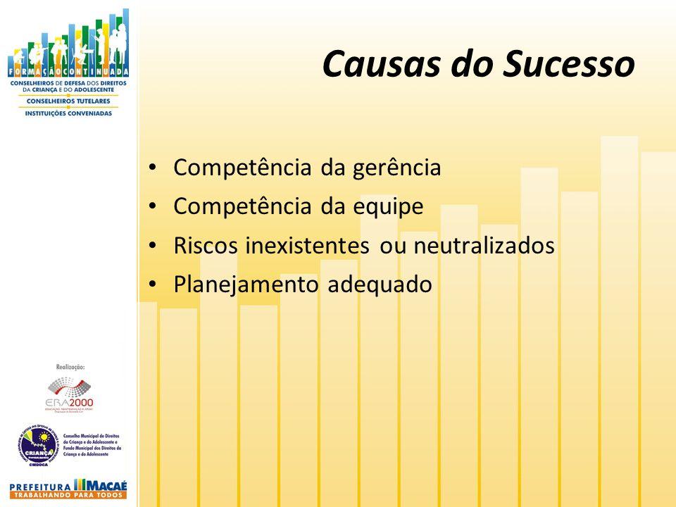 Causas do Sucesso Competência da gerência Competência da equipe Riscos inexistentes ou neutralizados Planejamento adequado