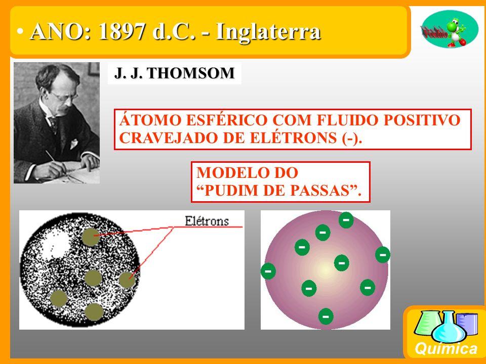 Química WILLIAM CROOKES Ampola de Crookes Partícula com massa Partícula com carga negativa ANO: 1896 d.C. – Inglaterra