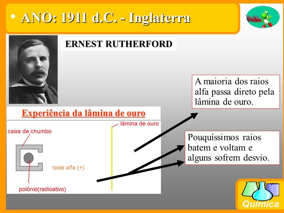 Química EUGENE GOLDSTEIN RAIOS CANAIS : DESCOBERTA DOS PRÓTONS (POSITIVOS) ANO: 1898 d.C. - Inglaterra