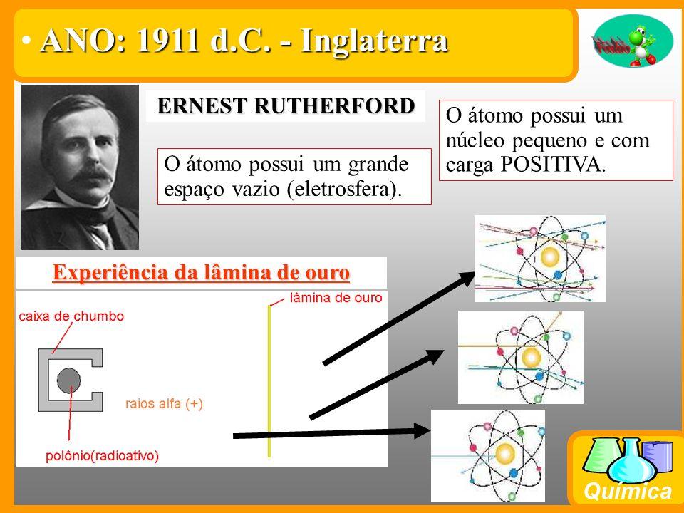 Química ERNEST RUTHERFORD Experiência da lâmina de ouro A maioria dos raios alfa passa direto pela lâmina de ouro. Pouquíssimos raios batem e voltam e